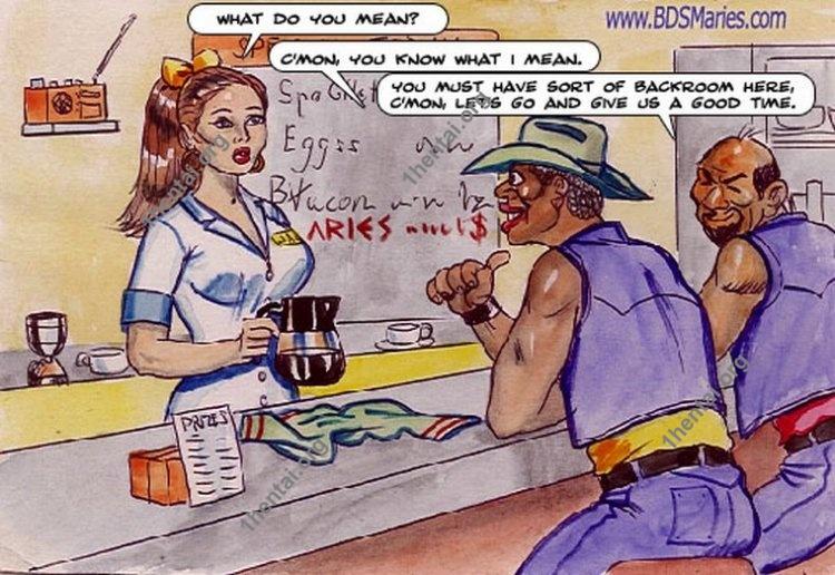 Waitress color BDSM comics